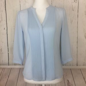 H&M • Powder Blue Blouse top w/ 3/4 sleeves